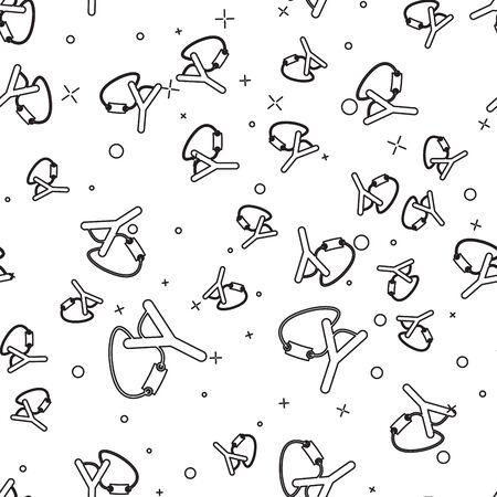 Black line Slingshot icon isolated seamless pattern on white background. Vector Illustration