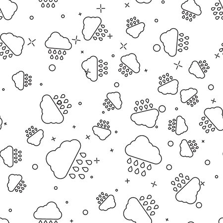 Black line Cloud with rain icon isolated seamless pattern on white background. Rain cloud precipitation with rain drops. Vector Illustration