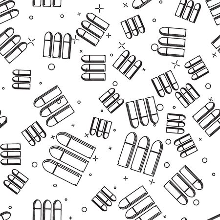 Black line Bullet icon isolated seamless pattern on white background. Vector Illustration Ilustrace