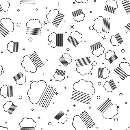 Black line Fog and cloud icon isolated seamless pattern on white background. Vector Illustration