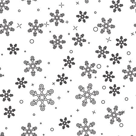 Black line Snowflake icon isolated seamless pattern on white background. Vector Illustration