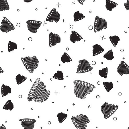 Black line Tornado icon isolated seamless pattern on white background. Cyclone, whirlwind, storm funnel, hurricane wind or twister weather icon. Vector Illustration