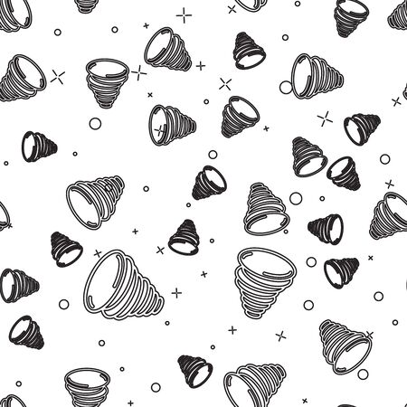 Black line Tornado icon isolated seamless pattern on white background. Cyclone, whirlwind, storm funnel, hurricane wind or twister weather icon. Vector Illustration Illustration