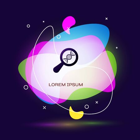 Black DNA research, search icon on dark blue background. Magnifying glass and dna chain. Genetic engineering, cloning, paternity testing. Abstract banner with liquid shapes. Vector Illustration