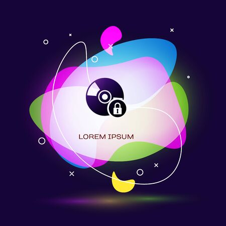 Black CD or DVD disk with closed padlock icon isolated on dark blue background. Compact disc sign. Security, safety, protection concept. Abstract banner with liquid shapes. Vector Illustration