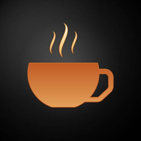 Gold Coffee cup flat icon isolated on black background. Tea cup. Hot drink coffee. Vector Illustration