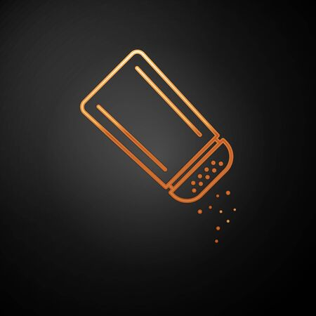 Gold Salt and pepper icon isolated on black background. Cooking spices. Vector Illustration Ilustracja