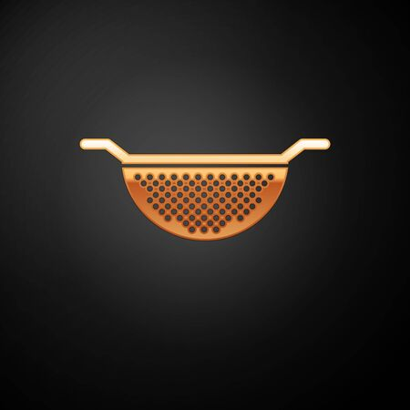 Gold Kitchen colander icon isolated on black background. Cooking utensil. Cutlery sign. Vector Illustration