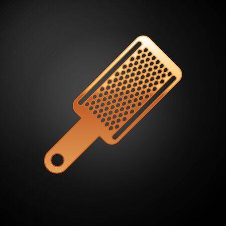 Gold Grater icon isolated on black background. Kitchen symbol. Cooking utensil. Cutlery sign. Vector Illustration Illusztráció