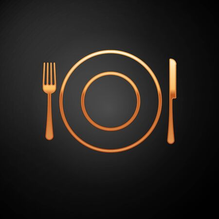 Gold Plate, fork and knife icon isolated on black background. Cutlery symbol. Restaurant sign. Vector Illustration Çizim