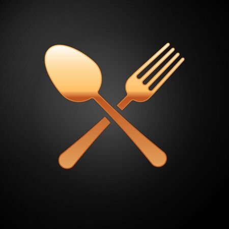 Gold Crossed fork and spoon icon isolated on black background. Cooking utensil. Cutlery sign. Vector Illustration