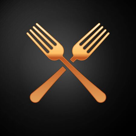 Gold Crossed fork icon isolated on black background. Cutlery symbol. Vector Illustration Çizim