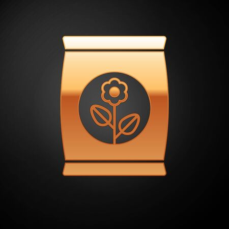 Gold Fertilizer bag icon isolated on black background. Vector Illustration