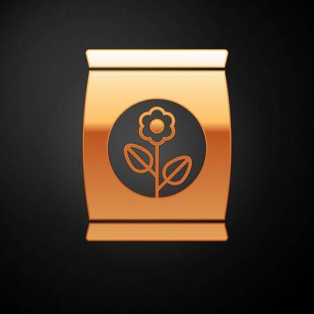 Icona di borsa fertilizzante oro isolato su priorità bassa nera. illustrazione vettoriale Vettoriali
