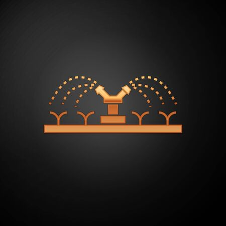 Gold Automatic irrigation sprinklers icon isolated on black background. Watering equipment. Garden element. Spray gun icon. Vector Illustration