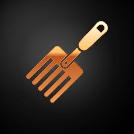 Gold Garden fork icon isolated on black background. Pitchfork icon. Tool for horticulture, agriculture, farming. Vector Illustration