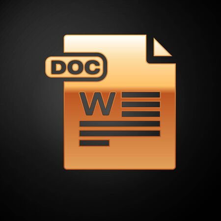 Gold DOC file document. Download doc button icon isolated on black background. DOC file extension symbol. Vector Illustration  イラスト・ベクター素材