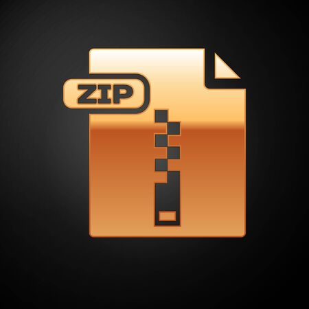 Gold ZIP file document. Download zip button icon isolated on black background. ZIP file symbol. Vector Illustration