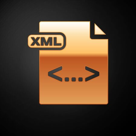 Gold XML file document. Download xml button icon isolated on black background. XML file symbol. Vector Illustration Çizim