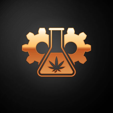 Gold Chemical test tube with marijuana or cannabis leaf icon isolated on black background. Research concept. Laboratory CBD oil concept. Vector Illustration