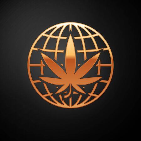 Gold Legalize marijuana or cannabis globe symbol icon isolated on black background. Hemp symbol. Vector Illustration