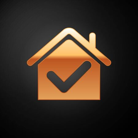 Gold House with check mark icon isolated on black background. Real estate agency or cottage town elite class. Vector Illustration