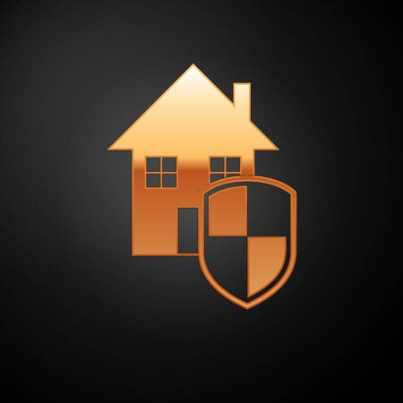 Gold House under protection icon isolated on black background. Home and shield. Protection, safety, security, protect, defense concept. Vector Illustration