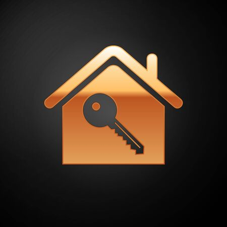 Gold House with key icon isolated on black background. The concept of the house turnkey. Vector Illustration