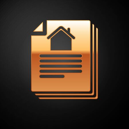 Gold House contract icon isolated on black background. Contract creation service, document formation, application form composition. Vector Illustration