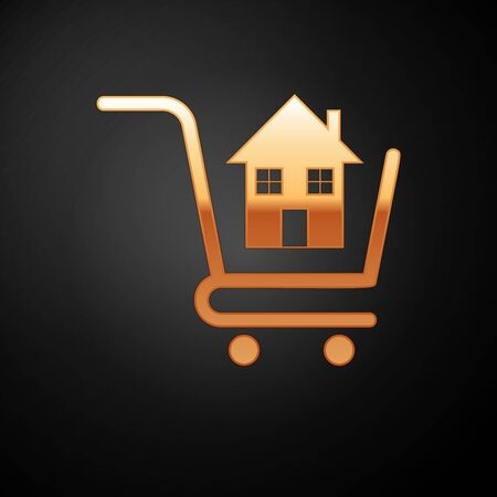 Gold Shopping cart with house icon isolated on black background. Buy house concept. Home loan concept, rent, buying a property. Vector Illustration Illustration