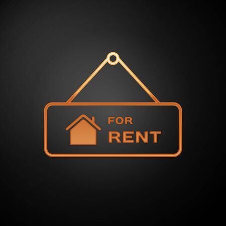 Gold Hanging sign with text For Rent icon isolated on black background. Signboard with text For Rent. Vector Illustration