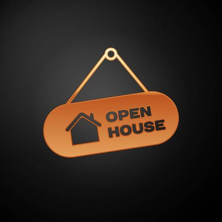 Gold Hanging sign with text Open house icon isolated on black background. Signboard with text Open house. Vector Illustration Illustration