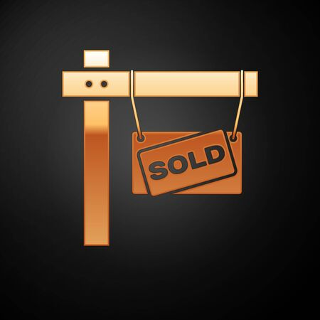 Gold Hanging sign with text Sold icon isolated on black background. Sold sticker. Sold signboard. Vector Illustration
