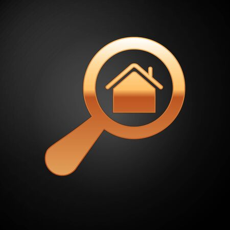 Gold Search house icon isolated on black background. Real estate symbol of a house under magnifying glass. Vector Illustration
