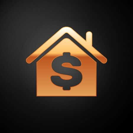 Gold House with dollar symbol icon isolated on black background. Home and money. Real estate concept. Vector Illustration