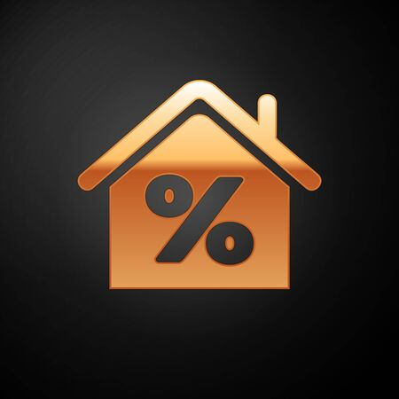 Gold House with percant discount tag icon isolated on black background. House percentage sign price. Real estate home. Credit percentage symbol. Vector Illustration