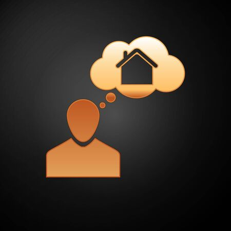 Gold Man dreaming about buying a new house icon isolated on black background. Vector Illustration Иллюстрация