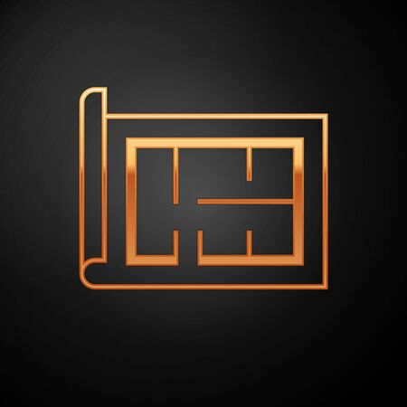 Gold House plan icon isolated on black background. Vector Illustration