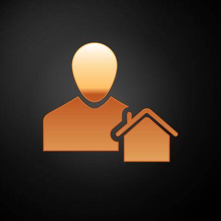 Gold Realtor icon isolated on black background. Buying house. Vector Illustration Illustration