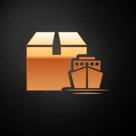 Gold Cargo ship with boxes delivery service icon isolated on black background. Delivery, transportation. Freighter with parcels, boxes, goods. Vector Illustration Illustration