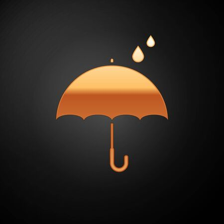 Gold Umbrella and rain drops icon isolated on black background. Waterproof icon. Protection, safety, security concept. Water resistant symbol. Vector Illustration