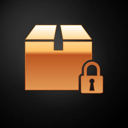 Gold Locked package icon isolated on black background. Lock and cardboard box. Vector Illustration
