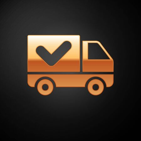 Gold Delivery truck with check mark icon isolated on black background. Vector Illustration Illustration
