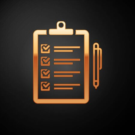 Gold Verification of delivery list clipboard and pen icon isolated on black background. Vector Illustration Illustration