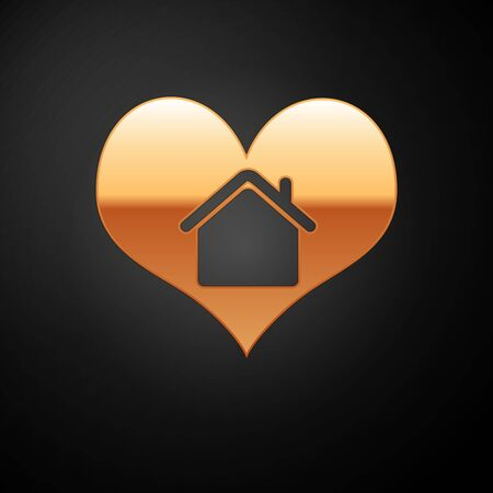 Gold House with heart shape icon isolated on black background. Love home symbol. Family, real estate and realty. Vector Illustration