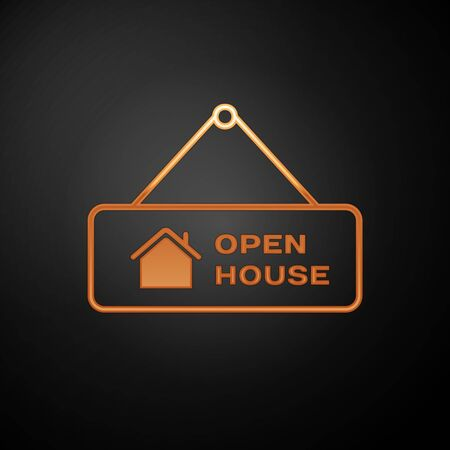 Gold Hanging sign with text Open house icon isolated on black background. Signboard with text Open house. Vector Illustration Иллюстрация