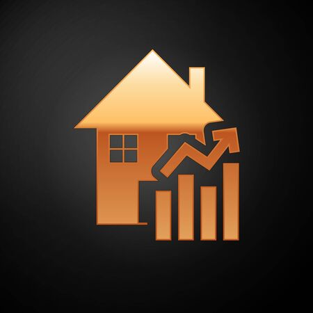 Gold Rising cost of housing icon isolated on black background. Rising price of real estate. Residential graph increases. Vector Illustration
