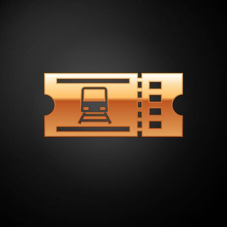Gold Train ticket icon isolated on black background. Travel by railway. Vector Illustration Ilustracja