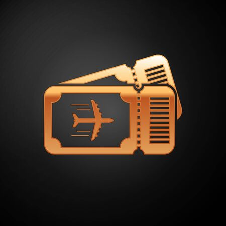 Gold Airline ticket icon isolated on black background. Plane ticket. Vector Illustration  イラスト・ベクター素材
