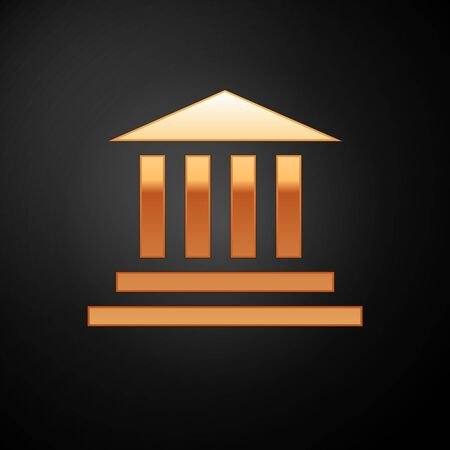 Gold Museum building icon isolated on black background. Vector Illustration